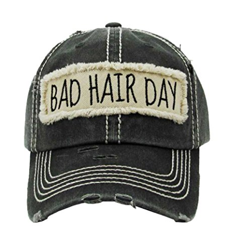 - Kbethos Trading Women's Bad Hair Day Vintage Patch Baseball Hat Cap (Black)