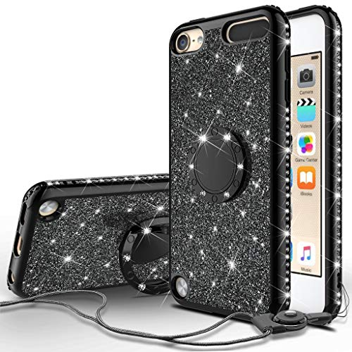 (Compatible for Apple iPod Touch 6 Case, iPod Touch 5 Case, SOGA Cute Girl/Women Rhinestone Bumper Sparkling Glitter Bling Diamond Phone Cover with Magnetic Ring Stand - Black)