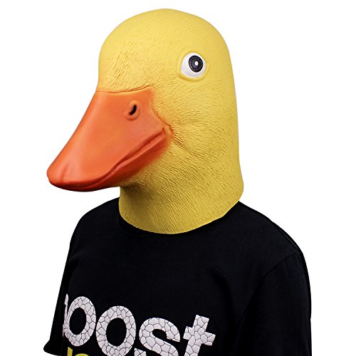 Deluxe Novelty Latex Rubber Creepy Funny Ducky Duck Head Mask Halloween Party Costume Decorations Yellow]()