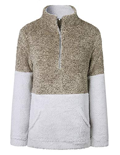 BTFBM Women Long Sleeve Zipper Sherpa Sweatshirt Soft Fleece Pullover Outwear Coat with Pockets (Khaki, Small)