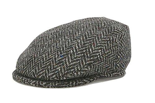 (Hanna Hats Men's Donegal Tweed Vintage Cap (Medium, Gray Herringbone))