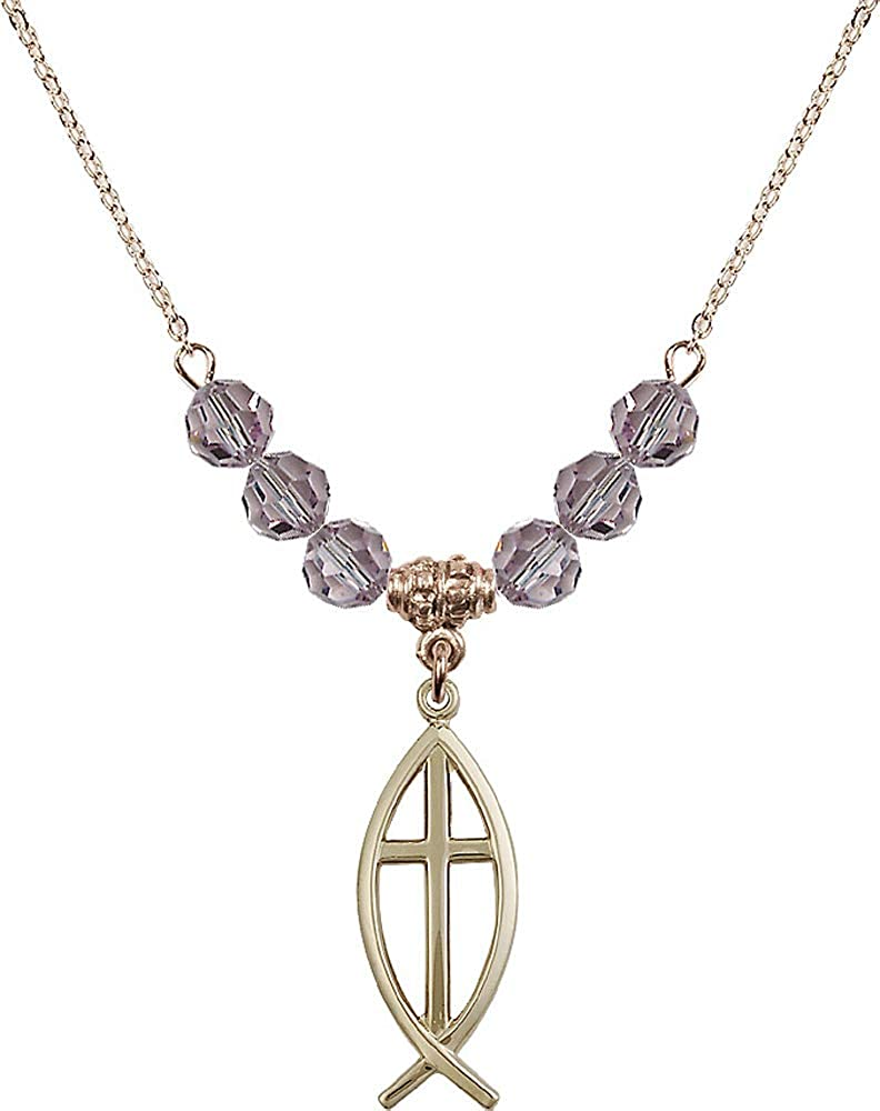 Purple Light Amethyst June Birthstone 18-Inch Hamilton Gold Plated Necklace with 6mm Light Amethyst Birthstone Beads and Fish//Cross Charm
