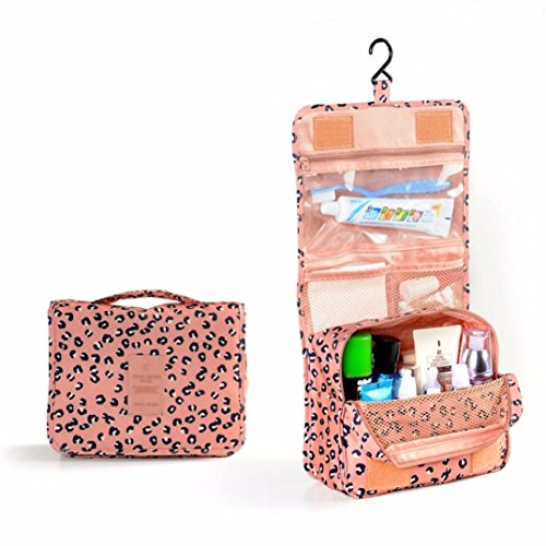 Clear Travel Bag, Oksale® Pocket Trip Cosmetic Organizer Storage Wash Toiletry Kit with Metal Hook, Waterproof Nylon Fabric Collection Carry Case ()