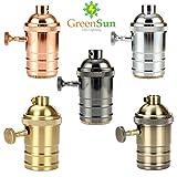 Lamp Base - GreenSun 5Pcs Antique Brass E26/E27 Lamp Socket Edison Lamp Holder Industrial Bulb Pendants Light Bases Knob Switch - (Color: Mix Color)