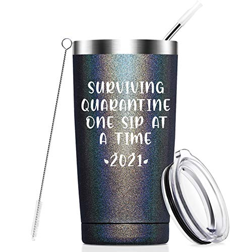 Surviving Quarantine One Sip at a Time 2021-Funny Quarantine Birthday Gifts-Funny Social Distancing Gifts for Women, Men…