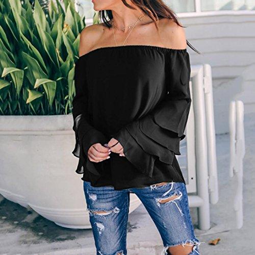 Nero Top Felpa Pullover Lunghe Primavera Eleganti Donna Off Vintage Lunga Manica yesmile Camicetta Felpe Casual Spalla Magliette Elegante Donna wpgqZIU