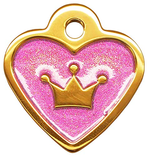 (Gold Light Purple Glita Heart Small Personalized Pet Tags Dogs & Cats ID Custom Engraved Back)