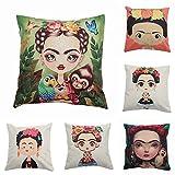 Beautyonline 6Pcs Mexican Style Cotton Linen Throw Pillow Case Cushion Cover Pillow Covers Home Car Decor 17.7x17.7''