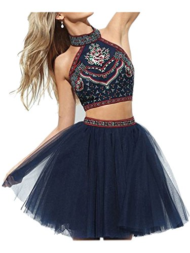 ALfany Short High Neck Embroidery Girls Homecoming Prom Dresses ,Navy,Us6