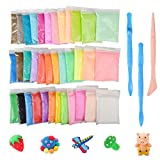 Hometall Modeling Clay Air Dry, 36 Colors DIY Ultra-light Molding Clay Soft Magic Plasticine Craft Toy with Tools, Best Kids (10oz/Pack)