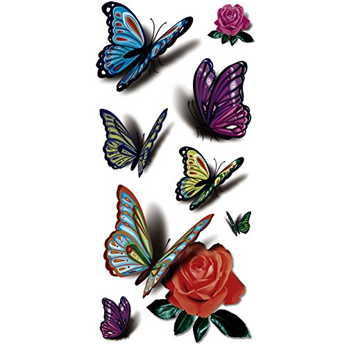 TAFLY(TM) 5 Sheets Waterproof 3d Blue Butterfly Rose Flower Sticker Tattoo Foil Decal Fashion Body Art Fake Tattoo