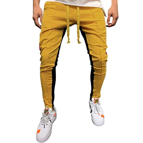 YanHoo Moda de Hombres de Costura Casual Hip Hop Bolsillo Cadena Deportiva Pantalones Casual sólido Suelto Patchwork Color Sweatpant Pantalones Jogger Pant: ...