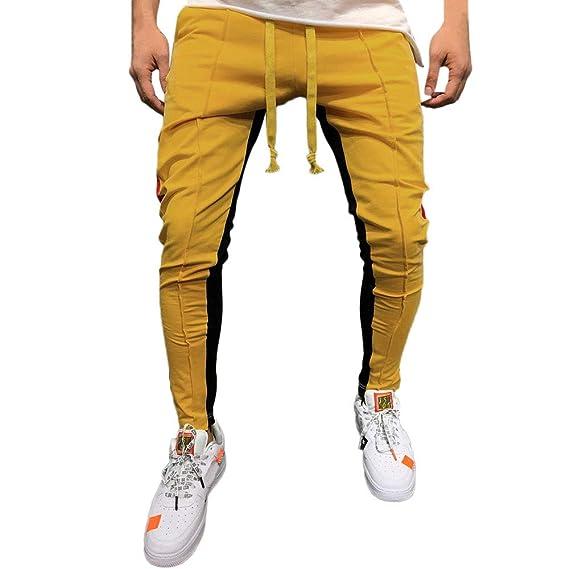 Gusspower Pantalones De Chándal Sueltos Hip Hop Ocasionales Aptitud Deporte  Hombres Moda Deportivos Costura Casual Personalidad Entrenamiento  Corriendo  ... cb8952e7ff9