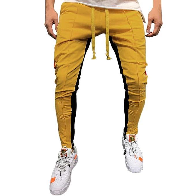 2b79e2097c507 Sólido Casual Pantalones Hombre Pitillo Blanco Rojo Azul Suelto Pantalones  Hombre Chandal Anchos Labor de Retazos Color Pantalón de chándal Pantalones  ...