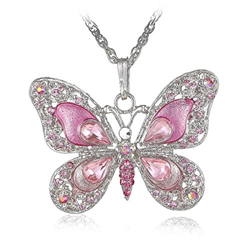 Silver Pink Rhinestone Necklace - POSHOPS Crystal Necklace Butterfly Design Silver Necklace Pendant Shiny Rhinestone 18\