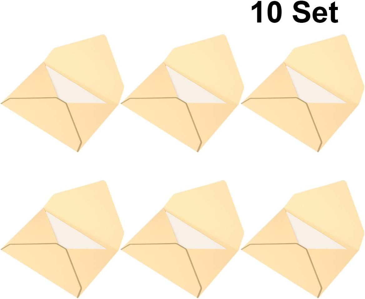 Tomaibaby 10 Juegos de Tarjetas de Invitaciones de Papel Kraft Vintage Simples Sobres Hechos a Mano Tarjetas de Felicitación para Invitaciones de Bodas de Cumpleaños (Blanco Dorado)