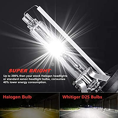 Wattstar Car HID D2S Xenon Headlight Bulbs, 35W 6000K 12V Diamond White OEM Replace for Halogen or LED Exterior Headlamp Bulbs(Pack of 2): Automotive