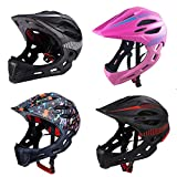U-smile Childrens Helmet,Children Sports Full Face Helmet Kids Safety Helmet with Warning Light for Boys Girls Outdoor Sports Safety Head Protective Gear for Cycling Skating Scooter Roller