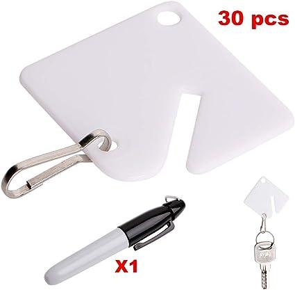 Amazon.com: 30 etiquetas para llaves de plástico blanco con ...
