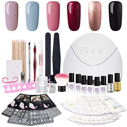 SEXY MIX Gel Nail Polish Manicure Tools Kit, Deluxe with 24W Nail Lamp 6 Colors Gel 4 Stamping Plate Decoration Kit