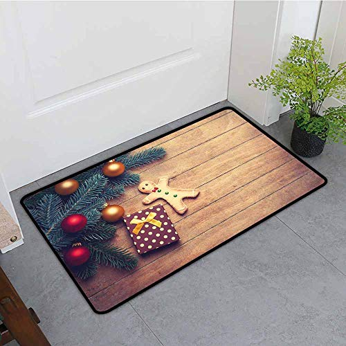 ONECUTE Crystal Velvet Doormat,Gingerbread Man Pine Branches Delicious Cookie and Present on Wood Planks,Super Absorbs Mud,35