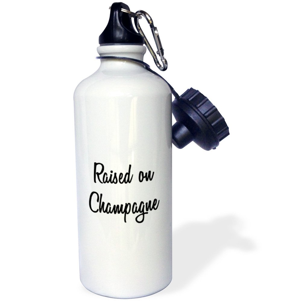 21 oz White 3dRose wb/_224607/_1RAISED ON CHAMPAGNE Sports Water Bottle