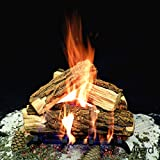 Myard DELUXE 15'' inches Country SPLIT Fire Gas Logs (LOGS ONLY) for Natural Gas / Liquid Propane Vented Fireplace