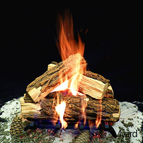 Myard DELUXE 15″ inches Country SPLIT Fire Gas Logs (LOGS ONLY) for Natural Gas / Liquid Propane Vented Fireplace