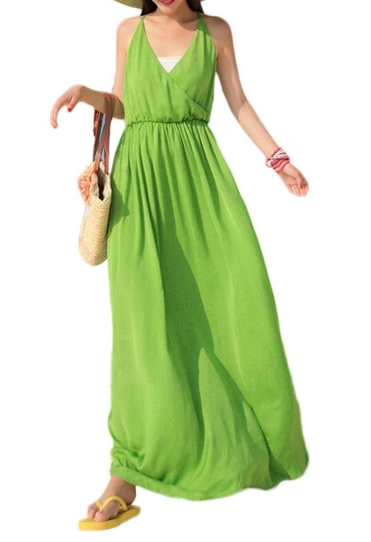 Bigood Chiffon Damen Langes Kleid Strandkleider Maxirock Grün