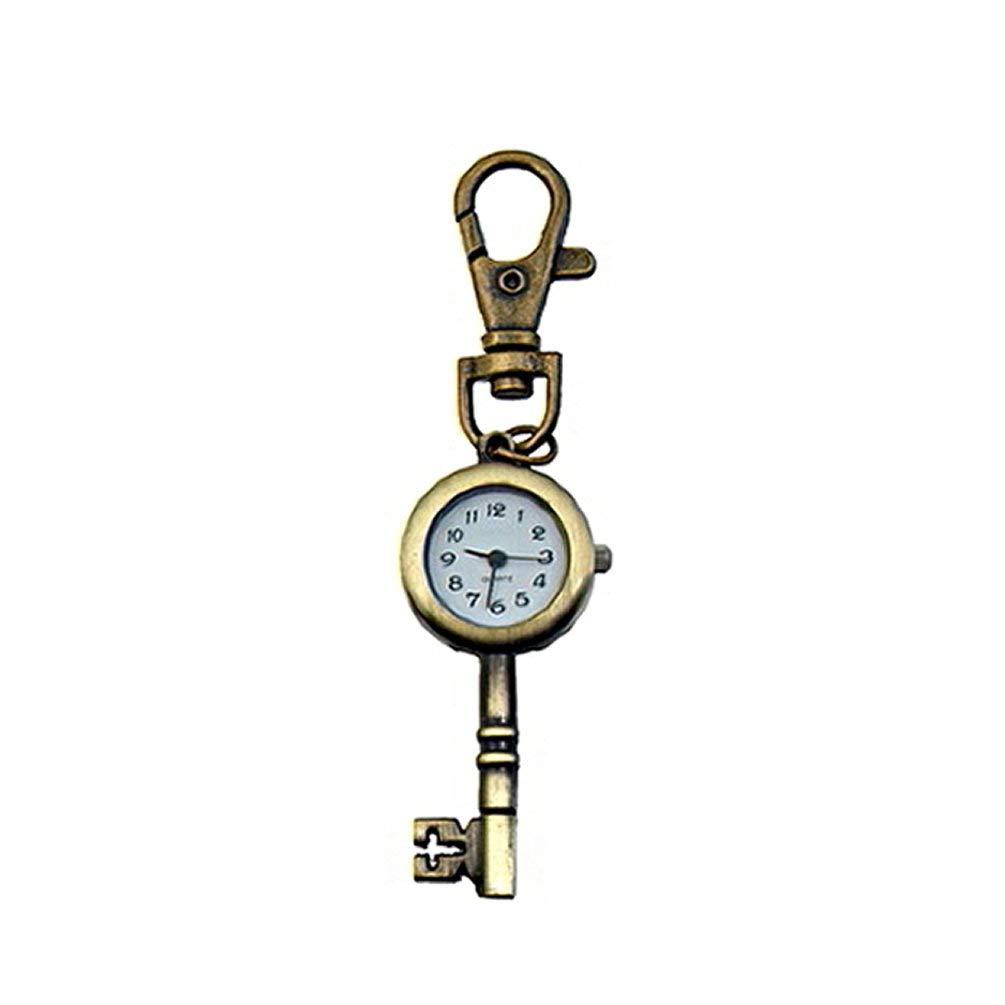 Oyamihin Couleur Bronze clé Horloge Quartz Pendentif de Poche Montre Collier de chaîne de Chandail