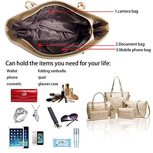 la de hombro moda bolso bolso Bag piezas Messenger Bolso Oro de en Tisdaini relieve de de mujer 6 wallet mano de apqZpxw4I