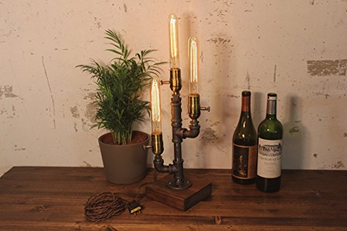 Dimming Industrial Steampunk table pipe lamp with Tube Edison bulb and Oak wood ()