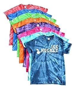 Ice Hockey Tie Dye T-Shirt Stacked Ice Hockey Logo (Turquoise, YM)