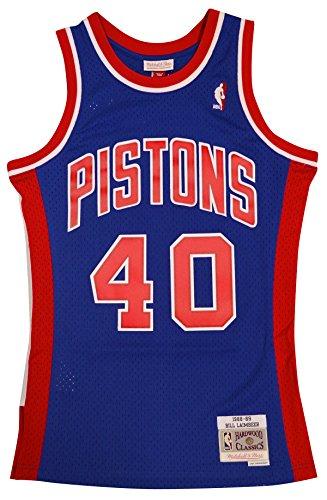 Bills Throwback Jersey - Mitchell & Ness Detroit Pistons Bill Laimbeer Swingman Jersey NBA Throwback Blue (Large)