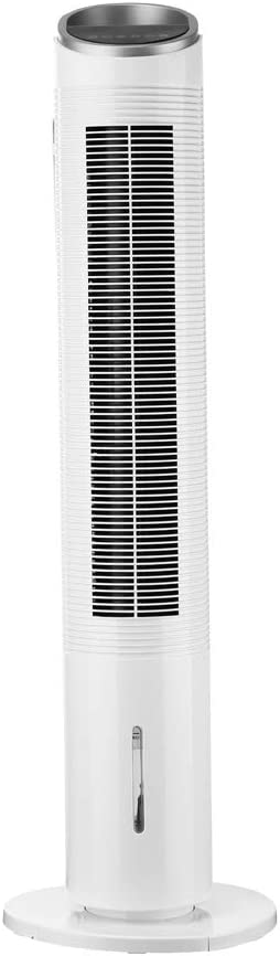 Diophros Electric Oscillating Tower Fan, Bladeless Standing Fan with Remote, 3 Speeds & 3 Modes, Built-in 12H Timer, LED Display Ultra-quiet Cooling Fan for Whole Room