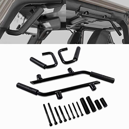 ndle Grab Bar Grip Handle Kit Fit for Jeep Wrangler JK JKU Sports Sahara Freedom Rubicon X & Unlimited 2007-2018 (Black) ()