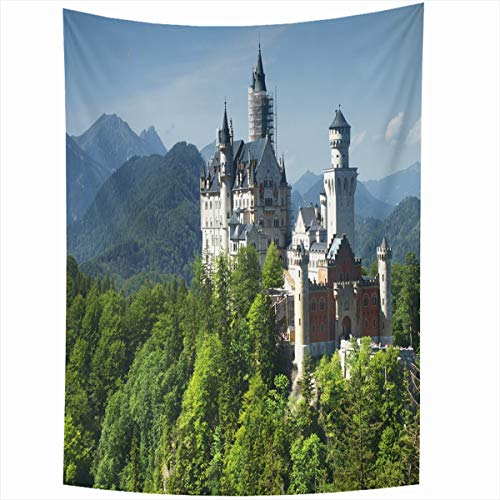 Ahawoso Tapestry Wall Hanging 50x60 Inches Mansion Blue Neuschwanstein Castle Bavarian Alps German Germany Parks Europe Bavaria European Gothic Home Decor Tapestries Art for Living Room Bedroom Dorm ()