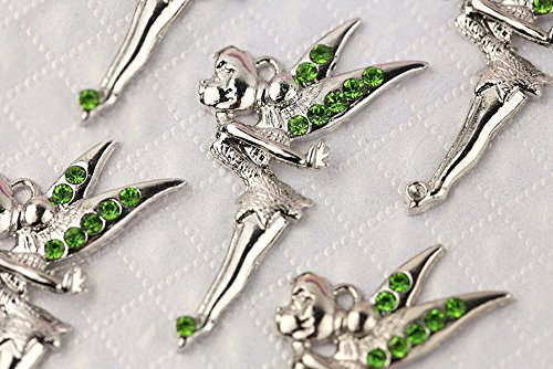 New Hot DIY Whoelsale Cute Green Crystal Angel Fairy 10pcs Charms Pendants K67-B (Tinkerbell Charm)