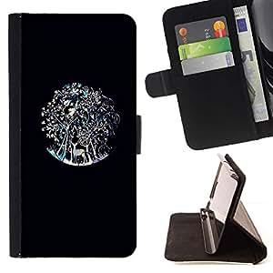 For Sony Xperia Z3 Plus / Z3+ / Sony E6553 (Not Z3) Case , Ciervos del trullo Bosque Negro- la tarjeta de Crédito Slots PU Funda de cuero Monedero caso cubierta de piel