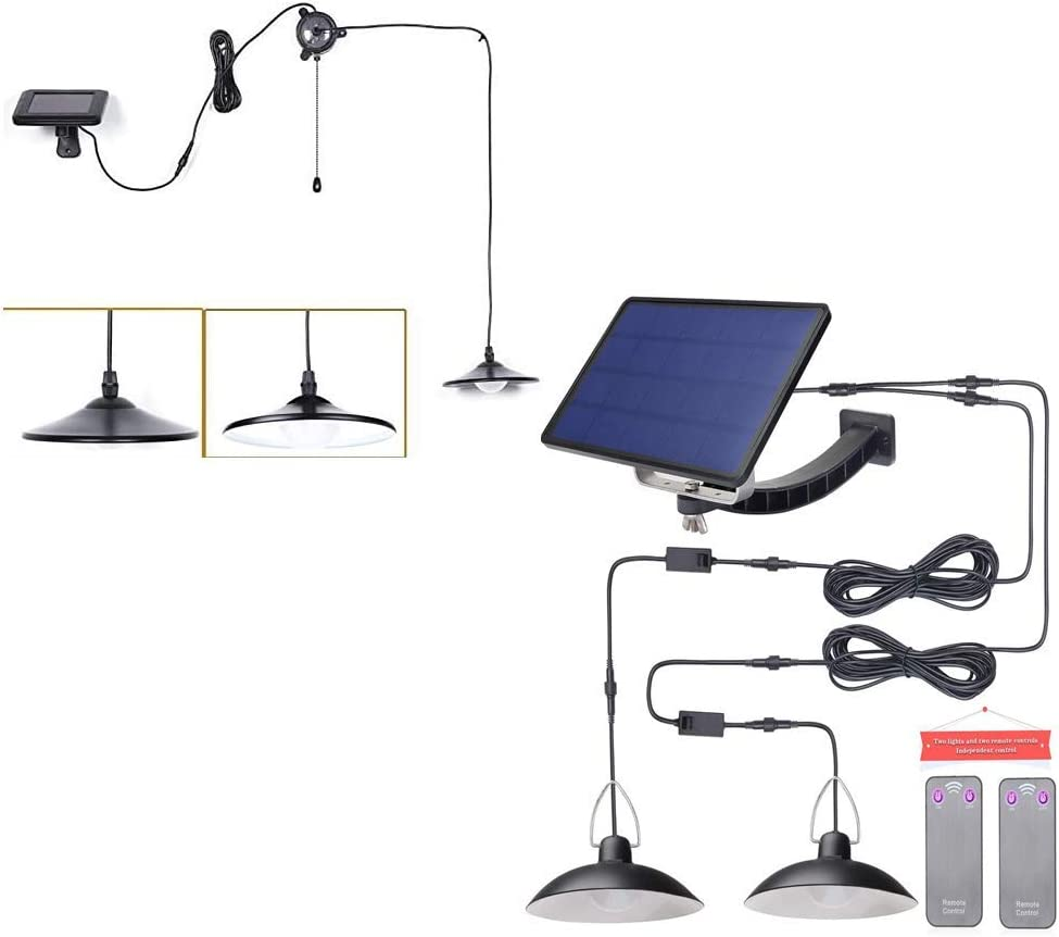 Kyson Solar Powered Led Shed Light with Remote Control and Pull Cord & Solar Shed Light with Dual Head Remote Control