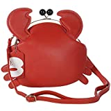 Womens PU Leather Cute Crab Shaped Tote Lady Handbags Clasp Closure Shoulder Bag
