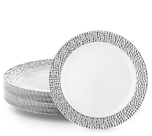 DAZZLE PLASTIC PARTY DISPOSABLE PLATES | 10.25 Inch Hard Round Wedding Dinner Plates | White/Silver Rim, 20 Pack | Elegant & Fancy Heavy Duty Party Supplies Plates for Holidays & Occasions