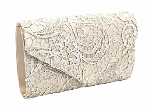 Nodykka Wedding Pleated Floral Lace Clutches Bag Evening Cross Body Handbags (Ivory Handbag Purse)
