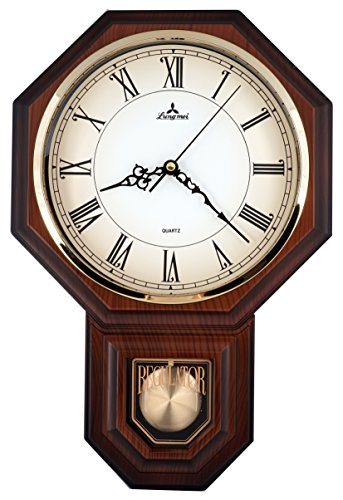 Traditional Schoolhouse Pendulum Wall Clock Chimes Hourly with Westminster Melody Made in Taiwan, 4AA Batteries Included (PP0258-R Dark Wood Grain)
