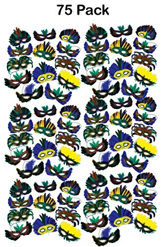 Bottles N Bags 75 Feather Masquerade Masks for Mardi Gras & Costume Parties