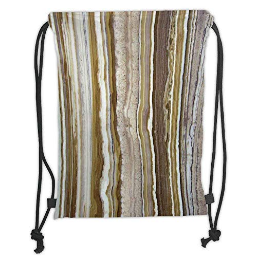 Goloingm Custom Printed Drawstring Backpacks Bags,Apartment Decor,Onyx Marble Rock Themed Vertical Lines and Blurry Stripes in Earth Color,Mustard Brown,Adjustable String Closure
