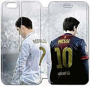 Flip Folio Leather Case for iPhone 6 plus 5.5 inch Cell Phone Case Fifa 14 Lionel Messi and Cristiano Ronaldo HPM4629902