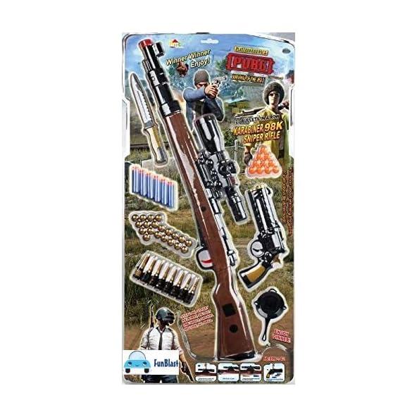 FunBlast PUBG Theme Gun Toys Set with Assault Rifle, 20 Soft Foam Bullets | Target Shooting Gun, Role Play Game for Kids/Boys/Children