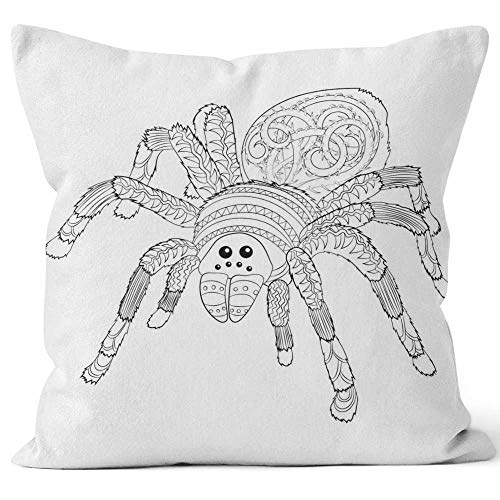 Adult Coloring Page with Halloween Nasty Spider Throw Pillow Cushion Cover,HD Printing Decorative Square Accent Pillow Case,20