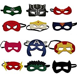 JustNTime Kids Superhero Party Masks for Kids | Includes a new Super Hero Mask | 12 Piece Super heroes Comics Masks are Great for Party Favors & Giveaways for Boys & Girls